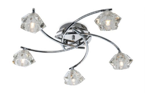 Firstlight 8365CH Chrome with Clear Glass Clara 5 Light Flush Fitting